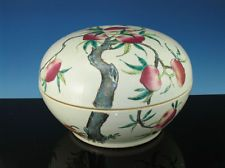 19th Chinese Circular Famille Rose Peach Decorated Large Box 12in $3700 plcombs@ebay
