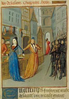 Une boutique de mercier Orose, Faits et choses du monde, France (Lyon), vers 1480 Paris