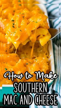 This Southern mac and cheese is a baked macaroni dish made with two types of cheese, eggs, milk and seasonings. Good Macaroni And Cheese Recipe, Bake Mac And Cheese, Creamy Mac And Cheese, Best Side Dishes, Side Dish Recipes, Easy Dinner Recipes, Best Pasta Recipes, Cheesy Recipes, Easy Family Meals