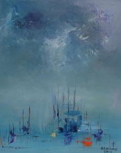 TABLEAU PEINTURE mer mâtures bâteaux Marine Peinture a l'huile - Mâtures