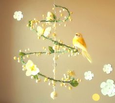 Yellow Spring Time Spiral Mobile with Perched Bird by PinkPerch /70.00/ http://www.etsy.com/listing/52214171/yellow-spring-time-spiral-mobile-with