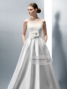 Illusion Neck Lace and Satin Bridal Dress with Flowers