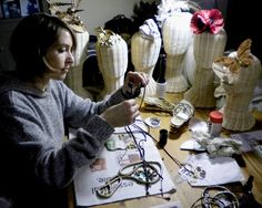 Chloe Haywood of Folksy shop Hatastic! in her studio