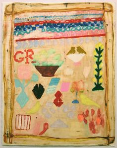 samplers : clare grill. my heart skipped a beat ... I love paintings of textiles.
