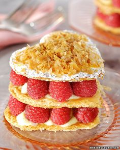 Heart-Shaped Raspberry Napoleons by Martha Stewart. This delicious recipe for heart-shaped raspberry Napoleons, a perfect Valentine's Day dessert, is from chef John Barricelli. Just Desserts, Delicious Desserts, Yummy Food, Romantic Desserts, Dessert Healthy, Napoleons Recipe, Dessert Crepes, Martha Stewart Recipes, Gastronomia