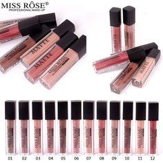MISS ROSE 12 Colors Women Sex Beauty Waterproof Metall Lip Gloss Long Lasting Wear Matte Moisturizing Nutritious Lipstick Makeup -- BuyinCoins.com