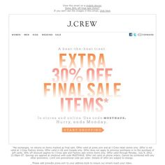 J.Crew - Summertime sale, extra 30% off final sale items