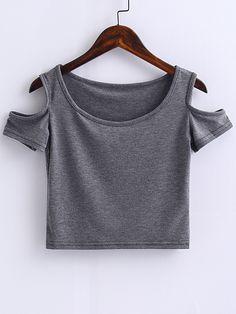 ¡Cómpralo ya!. Grey Open Shoulder Crop Top. Grey Polyester Casual Short Sleeve Round Neck Plain Summer T-Shirts. , topcorto, croptops, croptop, croptops, croptop, topcrop, topscrops, cropped, topbailarina, corto, camisolacorta, crop, croppedt-shirt, kurzestop, topcorto, topcourt, topcorto, cortos. Top corto  de mujer color gris de SheIn.