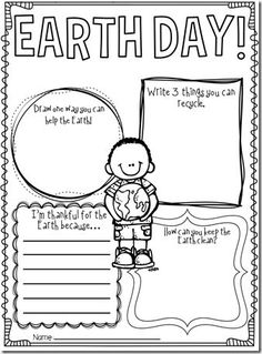 Kindergarten Writing Prompts: a year of many firsts: Earth Day Fun!
