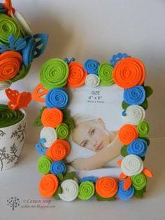Achei estas ideias na web. Kids Crafts, Felt Crafts, Crafts To Sell, Diy And Crafts, Arts And Crafts, Frame Crafts, Diy Frame, Diy Photo Frame Cardboard, Picture Frame Decor