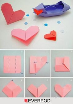 Easy and Simple Ways How to fold origami paper Heart ~ Creativehozz About Home Decorating Design, Entertainment, Kids, Creative Ideas, Crafts