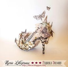 Mixed media vintage altered shoe by Maria Lillepruun