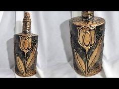 Декор бутылки своими руками. Бронзовый тюльпан - YouTube
