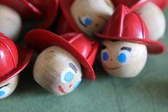 2 Vintage Wooden Firemen Heads by CaityAshBadashery on Etsy