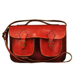 Retro Design Orange Leather Messenger Bag Tote bag by ammaciyo, $95.00