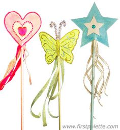 Make a butterfly-shaped wand, a heart-shaped wand or a classic star-shaped want out of paper, a wooden dowel, ribbons and some glitter. Printable shape templates are included for easy crafting. Paper Crafts For Kids, Easy Crafts, Craft Kids, Magic Wand Craft, Magic Wands, Brownie Fairy, Folded Paper Stars, Dance Crafts, Princess Wands