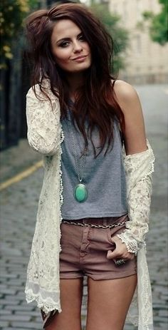 Lace cardigan, shaggy hair, & cute shorts! Love the laid back look this spring!