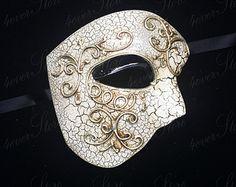 New Roman Masquerade Mask - Ivory/Gold Venetian Mens Masquerade Mask  'Phantom of the Opera' Design - Unisex - EDC Costume, Masquerade Mask