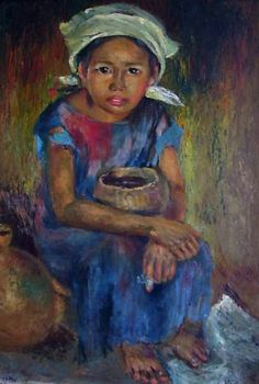 Anita Ho Magsaysay Ho, Beggar Girl, 1946 Philippines, Filipino Art, Philippine Art, Filipina Beauty, African American Art, Artists Like, Contemporary Art, Sculptures, Sketches