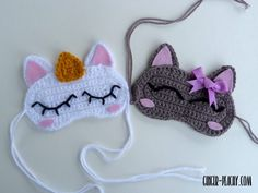 Cat & Unicorn Sleep Masks | Free Crochet Pattern