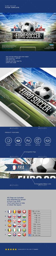 3d, ball, champion, champions league, championship, college cup, cup 2016, euro, euro 2016, euro cup, euro cup 2016, europe, event, field, flag, flyer, football, france, game, goal, league, modern, soccer, soccer 2016, sports, stadium, template, tournament, uefa Easy to modify, like changing colors, dimensions, etc. All text is editable. You can hide and show some layers and obtain more unique results! All elements shown are included in the PSD.   Features:  01 Print ready Photoshop file…