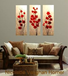 Original Abstract Triptych 3  panel Contemporary  modern art  on canvas painting  by Nicolette Vaughan Horner. $275.00, via Etsy.