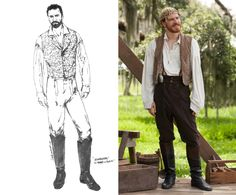 """Though Michael Fassbender's slave owner character was a volatile man, McQueen """"wanted him to be kind of romantic,"""" Norris says. For that look, his character wore looser shirts with fuller sleeves. Norris also favored the vests worn by Fassbender because of the lace-up feature in the back. """"If the clothes are weird, I tend to go for them,"""" says the designer, who has already nabbed a Costume Designers Guild award for her work on the film."""