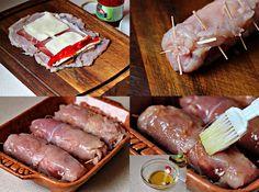 Pechugas de pollo rellenas de jamón, queso y pimientos del piquillo - Recetín