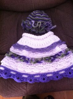 Knitted Bonnet and Crochet Poncho for Baby Iris