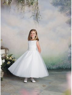 Tulle Jewel Neckline A-Line Flower Girl Dress with Beaded Waistline Rouched Bodice