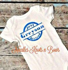 This onesie is a vinyl personalized stamp stating that your little one has arrived.   Great for baby shower gifts, bringing your little one home…
