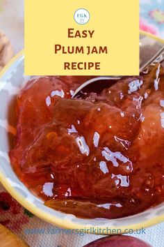 Plums make the most beautiful jewel-like jam and it's really simple to make.  You only need plums, sugar, lemon juice and water.  Spread it on your bread and butter, toast, scones, pancakes or a spoonful on top of rice pudding is also delicious #easy #plum #jam #recipe Jam Recipes, Chef Recipes, Kitchen Recipes, Fish Recipes, Scotland Food, Burns Supper, Great British Food, Plum Jam, Scottish Recipes