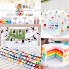 A Sweet Rainbow-Heart Birthday Party