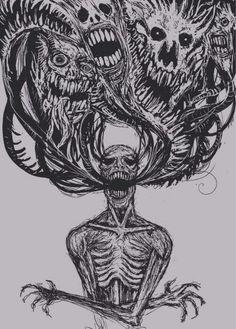 Kunst Zeichnungen - drawing art Black and White depressed depression sad head pain anxiety alone sil. Creepy Drawings, Dark Art Drawings, Creepy Art, Broken Drawings, Demon Drawings, Skull Drawings, Arte Horror, Horror Art, Creepy Horror