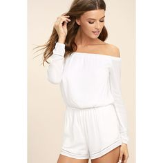 Tavik Carey White Off-the-Shoulder Romper ($78) ❤ liked on Polyvore featuring jumpsuits, rompers, playsuit romper, off the shoulder romper, white backless romper, white long sleeve romper and off shoulder romper