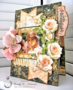 Hello Beautiful Card with Portrait of a Lady by Kathy Clement for Frilly and Funky Friday Focus on Graphic 45 Photo 2 - Kathy by Design Hello Design, Paper Art, Paper Crafts, White Acrylic Paint, Get Well Cards, Graphic 45, Hello Beautiful, Vintage Cards, Paper Design