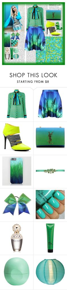 """Color combination ( Green ,Blue and yellow)"" by rita65 ❤ liked on Polyvore featuring Lilly Pulitzer, Yves Saint Laurent, Oscar de la Renta, Marc Jacobs, Matrix Biolage, Eos, Cultural Intrigue, women's clothing, women's fashion and women"