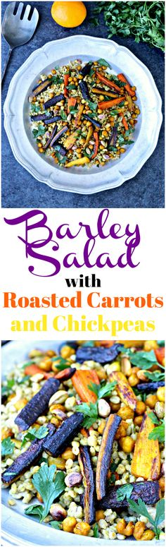 #ad Barley Salad with Roasted Carrots and Chickpeas- a hearty vegan, whole grain dish that's packed with nutrients and flavor! | @foodiephysician
