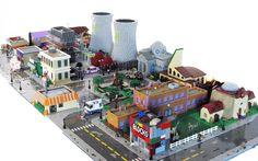 The Simpsons' Springfield, USA in Lego Lego Simpsons, Lego City, Lego Design, Simpsons Springfield, Springfield City, Cool Lego Creations, Lego Worlds, Lego Models, Custom Lego