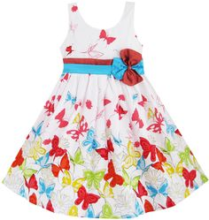New Girls Dress Butterfly Yellow Blue Double Tie Party Kids Clothing 4-5 #SunnyFashion