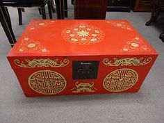 Vintage Chinese Red Lacquer Hand Painted Wedding Trunk Light Weight