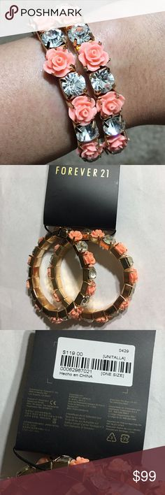 New GORGEOUS rose and CZ bracelet!! BRAND NEW!! Forever 21 gold tone stretchy bracelet originally priced at $119. Coral colored roses and clear CZs. Would be beautiful and classy with almost any coral colored outfit. I am open to offers OR bundle more from my closet for savings!! :) Forever 21 Jewelry Bracelets