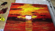 How to Paint a Sunset, Abstract Acrylic, Art, Sunset, Painting with Pale...