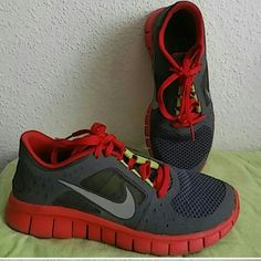 Nike Free Run 3 tennis shoes Red/Gray/Green Pre-loved condition. Comfortable and stylish running / workout Nike Tennis shoes. I'm a size 5 and these fit me very comfortably. Nike Shoes Sneakers