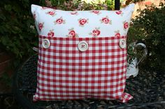Image detail for -Bibi Red Gingham Button Cushion