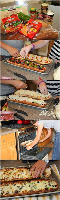 Here's a creative food idea. We wanted pizza last night, but didn't have any flour to make dough. We DID however how a loaf of french bread from breakfast. Would this work? Here's the outcome of our experimental dinner fiasco: You'll Need: 2 loaves French I Love Food, Good Food, Yummy Food, Do It Yourself Food, French Bread Pizza, Little Lunch, Snacks, Quick Meals, Fast Dinners