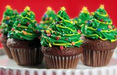 christmas desserts - Christmas tree cupcakes