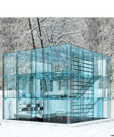 #Snow #House, 2013 Santambrogiomilano #Architects, #Italian  Designed to be built almost anywhere around the world and allow the inhabitant to be completely immersed in #nature. every component of the dwellings, except for the ground floor, is composed of structural #glass pieces.