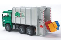 Bruder Toys MAN Garbage Truck Rear Loading Green