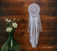 Dream white hand-made lace wall Boho chic style wedding